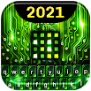 Green Light Cyber Circuit Wallpaper and Keyboard 4.22